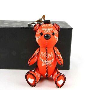 MCM Orange Nylon Bear Charm with Key Ring and White Logo Print MYX9SXL06OX001