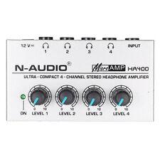 HA400 4 Channels Mini Audio Stereo Headphone AMP Amplifer+US Adapter G6H9 ED