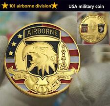 USA 101st Airborne Division Commemorative Coins World War 2 WW2 Eagle Head Gold