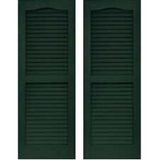 Set of 2 VANTAGE Exterior Louver Arch Shutters 14 x 39 Vinyl MIDNIGHT GREEN USA