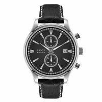 CCCP Men's Sputnik-2 CP-7028-01 43mm Black Dial Leather Watch