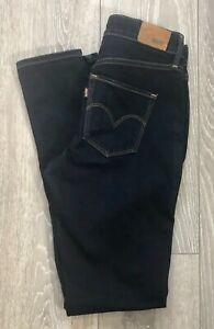 Ladies Levi High Rise Skinny Jeans Dark Blue Stretch Size W26 L32