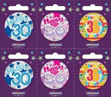 Holographic I AM 30 TODAY Happy 30th Birthday Badge Mens Ladies Pink Blue 55mm