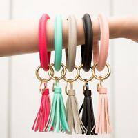 PU Leather Big O Circle Key Ring Wrist Strap Tassel Keychain Bracelet Bangle