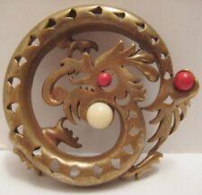 Old Unusual Heavy & Ornate Brass Dragon Pin - Odd Animal Jewelry