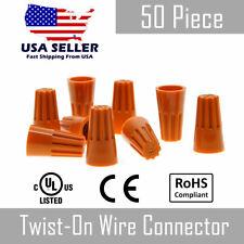 50 Piece Orange Twist On Wire Nut Connector 22 14 Gauge Barrel Conical Screw Usa
