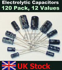 Radial Electrolytic Capacitors 120 Pack, 10 each 12 values Kit/Assortment/Mix UK