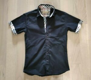 Burberry Shirt Women's Black Short Sleeve Size S Ladies Nova Check Cotton Vtg