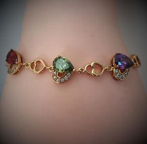 18k Gold layered Multi-Color Heart Sapphire  Bracelet  BBJ32