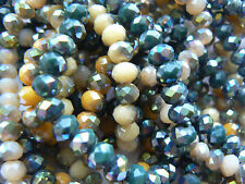 Beads Faceted Glass Shiny - Rondelle 'Donut' Shaped - Choose your Colour & Size
