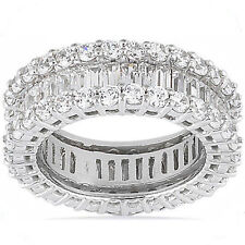 14k Gold Band Size 8 F-G Vs 4.60 carat Round & Baguette Diamond Eternity Ring