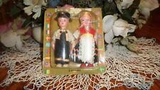 "Vintage Danish Boy & Girl 4 1/4"" Plastic Dolls Made in Hong Hong"