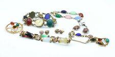 Lot Of 8 Vintage Scarab Bracelets Earrings Pin Brooch Watch Multi Gem #10437-9