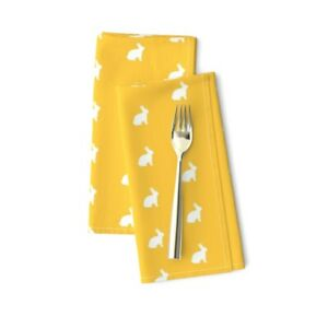 Bunny White Rabbit Yellow Summer Cotton Dinner Napkins by Roostery Set of 2
