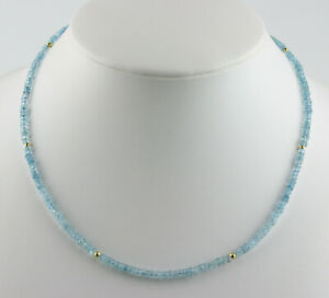 Aquamarine Necklace Precious Stone Faceted Rondelle Sky Blue Necklace 45,5 CM