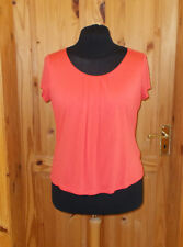 MINUET coral orange short sleeve tunic top t-shirt round neck L PETITE 16-18 44