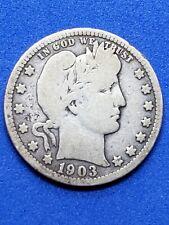 ●《☆♡☆》■1903-S Barber Silver Quarter Dollar, Circulated, Good, 25C, $0.25 USD