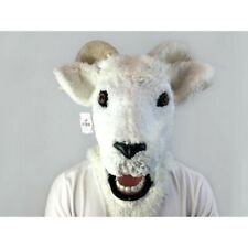ADULT GOAT RAM SHEEP ANIMAL MOUTH MOVING COSTUME OVER THE HEAD MASK HORNS WHITE