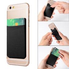 Mobile Phone Credit ID Card Holder Elastic Wallet Pocket Adhesive Sticker Lycra