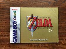 Legend of Zelda Links Awakening DX Gameboy Color Instruction Manual Only