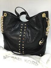NWT MICHAEL KORS Uptown Astor Studded Large Leather Shoulder Bag Black