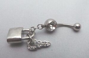 Navel Belly Button Bar Piercing Ring Body Piercing - Lock and Key Clear Crystal