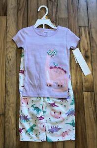 New! Girls CARTER'S Purple White Green Cotton Stripe Dinosaur Pajamas Size 2T