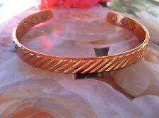 "Solid Copper Magnetic 9 Inch Cuff  Men's Bracelet 928 - 6 Magnets - 3/8"" wide"