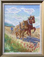 Oil Painting Expressive Eric Axel Täckström 1911 - 1992 Fieldwork Of Horses