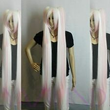 Noble White Pink Long Straight 2 Ponytails Cosplay Wigs+Hairnet