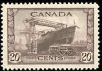 1943 Canada Mint NH VF Scott #260 20c KGVI War Issue Stamp