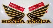 Honda  Wing Fuel Tank Decal Wings Sticker 2 x 100mm BLACK & ORANGE 100% GENUINE