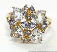 Solid Gold Fashion Large Sz 9.5 Genuine Trillion Cut Aquamarine Tanzanite Ring