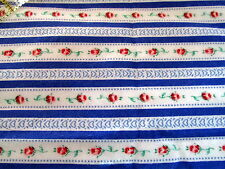 Blue floral stripe cotton Flannel fabric half yard cut 1/2 rosebud rows