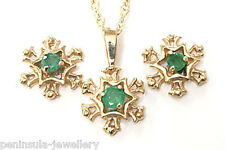 9ct Gold Emerald Pendant Necklace and Earring Set Gift Boxed Made in UK