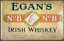 Egans No. 8 Irish Whiskey Blechschild Schild 3D geprägt Tin Sign 20 x 30 cm