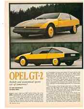 1975 OPEL GT-2 1897cc/105-HP  ~  VINTAGE ORIGINAL 3-PAGE ARTICLE / AD
