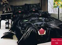 Double size Black Puma print 3d duvet cover bedding set 100% cotton UK size
