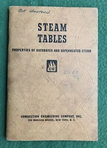 Steam Tables Properties of Saturated and Superheated Steam Combustion 1940 book