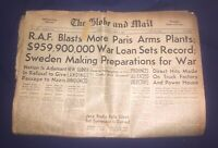 VINTAGE TORONTO GLOBE AND MAIL NEWSPAPER MARCH 9, 1942 WORLD WAR 2