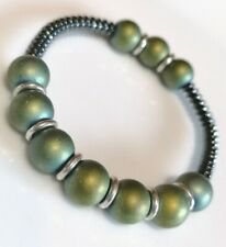 Rainbow glass & Hematite beads + Links Of London sterling silver rings Bracelet
