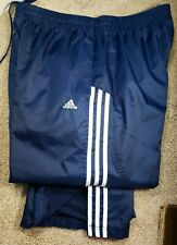 ADIDAS-Navy/Wht Nylon Mens Full Cloth Lined, Athletic Wind/Rain Pants-(XL)