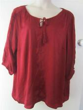 NEW..Stylish Plus Size Autograph Red Berry 3/4 Sleeve Peasant Style Top.Sz24