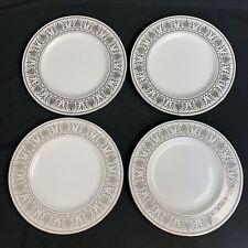 Set of 4 Lenox China Royal Hannah Platinum White Accent Luncheon Plates USA Made