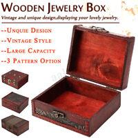 Wooden Lock Treasure Chest Jewelery Storage Nail Box Case Organiser Ring