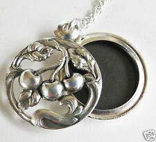 MUCHA/ ART NOUVEAU SILVER CHERRY FRUIT LOCKET / PENDANT AND CHAIN