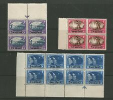SOUTH AFRICA 1945 SWAZILAND VICTORY FINE MINT SET IN ATTRACTIVE BLOCKS OF 4