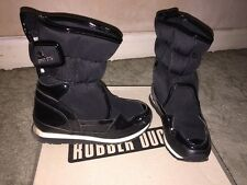 Women's Rubber Duck Snow Boots Size 37 Uk 4 Black Waterproof Velcro Strap Shoes