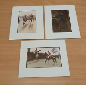3x Vintage Cecil Aldin Mounted Prints - Hunting, Pub scene and Horses