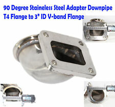 """Stainless Steel Adapter T4 flange to 3""""ID V-band Flange 90 Degree Elbow Downpipe"""